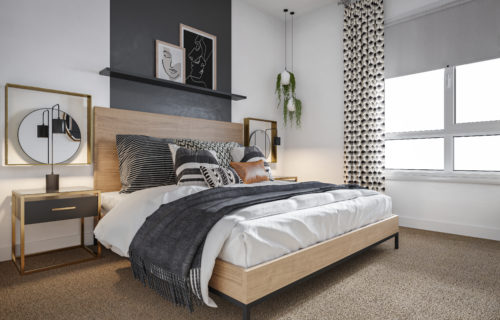 furnished bedroom at Alexan Julian - Warm and Inviting Denver Apartments