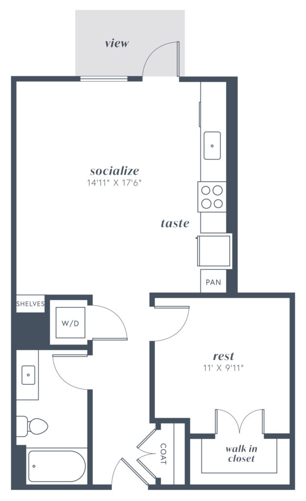 A1 one-bedroom luxury apartment floorplan - Great One-Bedroom Denver Apartments
