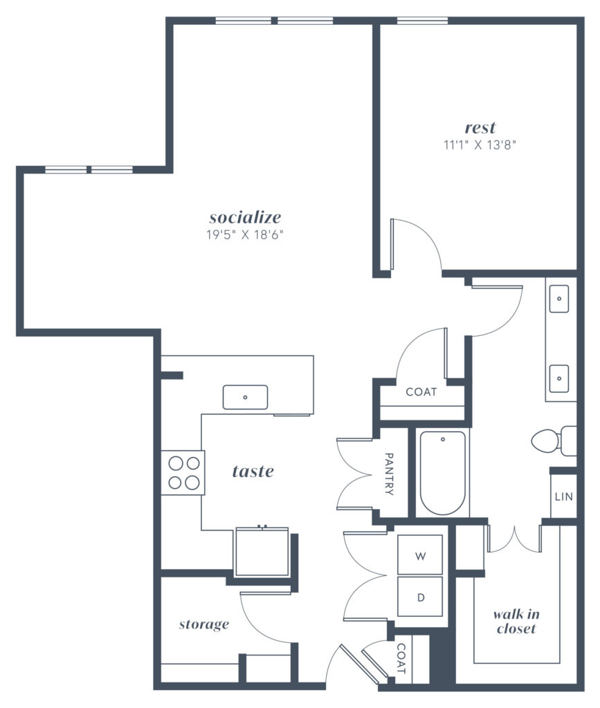 A12 one bed/one bath floorplan at Alexan Julian - Start Your New Life Right